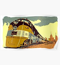 The streamliner train vintage style oil painting Poster