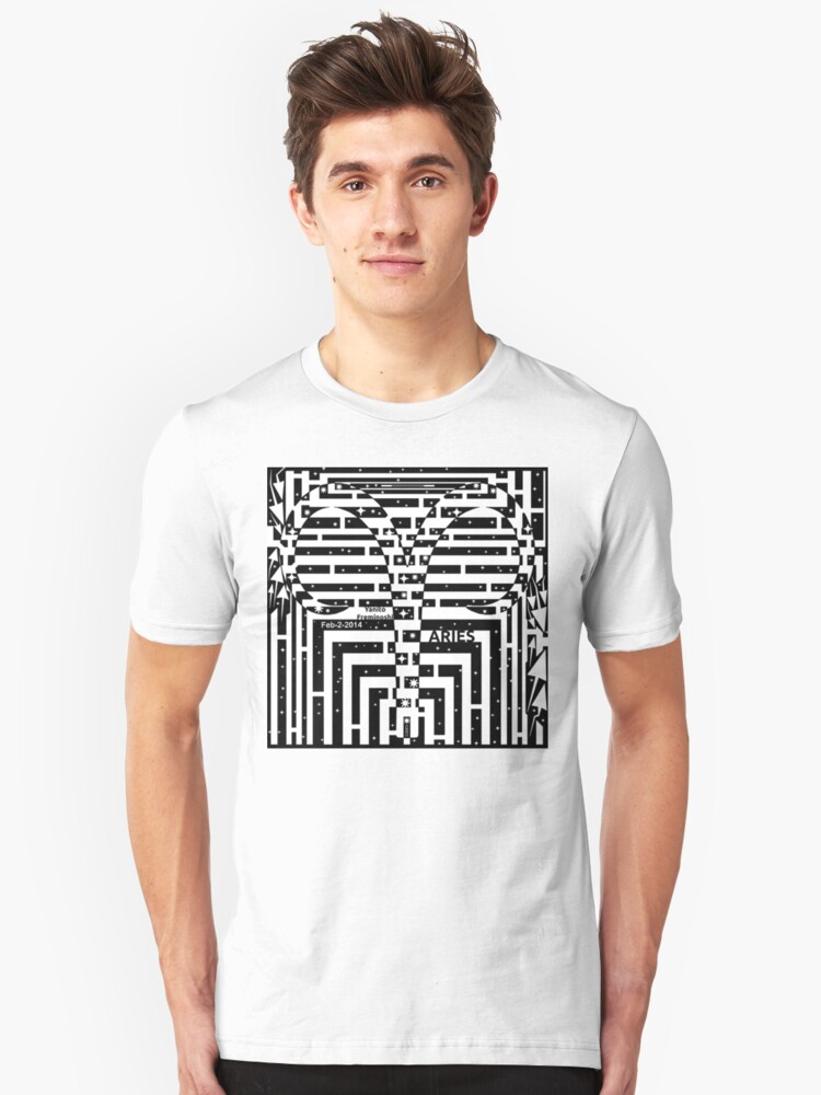 Aries Maze in Black and White Unisex T-Shirt Front