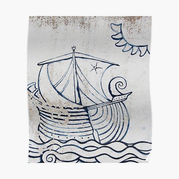 Boat mural street art Formentera Poster