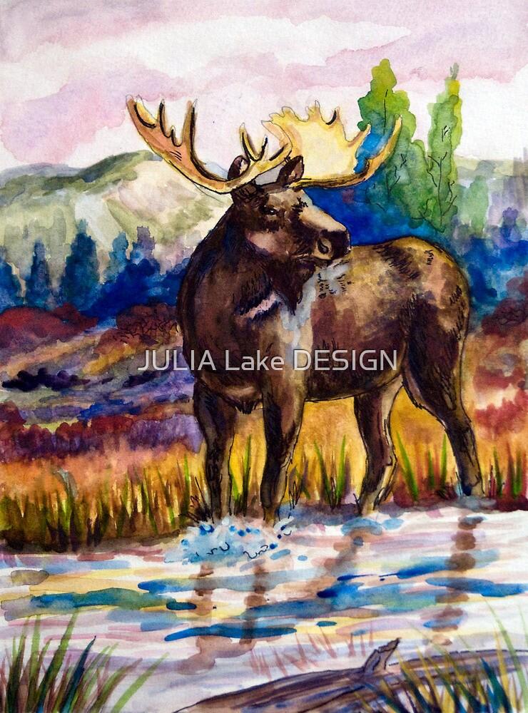 Moose Watercolor by JULIA Lake DESIGN