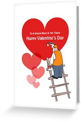 Valentine's Day Niece & Fiance Cards, Red Hearts, Painter Cartoon by Sagar Shirguppi
