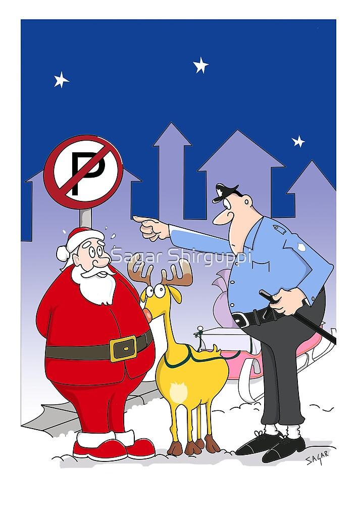 Santa And Police Officer Funny Cartoon  by Sagar Shirguppi