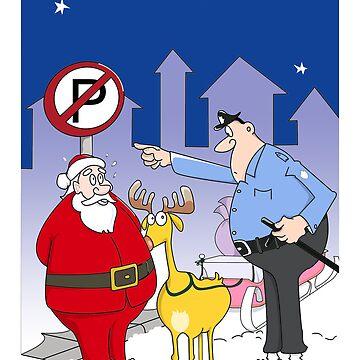 Santa And Police Officer Funny Cartoon  by shirguppi