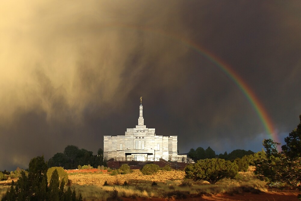 Snowflake Arizona Temple - Rainbow 30x20 by Ken Fortie