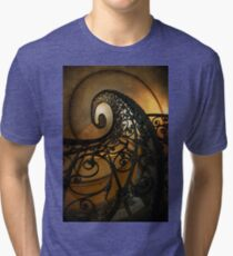 Spiral staircase with ornamented handrail Tri-blend T-Shirt