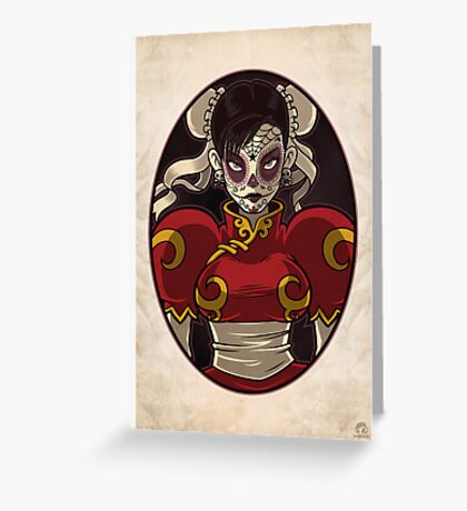 Chun Li Skull Girl Greeting Card