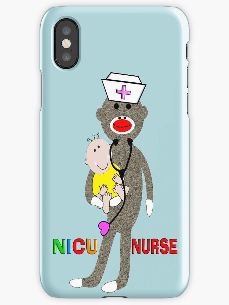 NICU Nurse Sock Monkey iPhone Cases by Gail Gabel, LLC