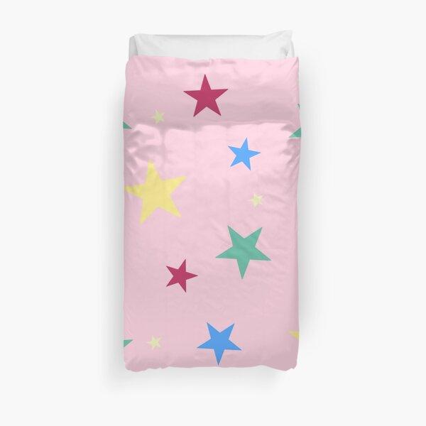 Rainbow stars on pink Duvet Cover