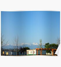 France landscape with some architecture and mountains in the distance. Poster