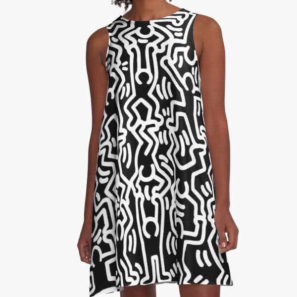 Keith Haring Monochrome Figures Drawing LGBTQ+ A-Line Dress