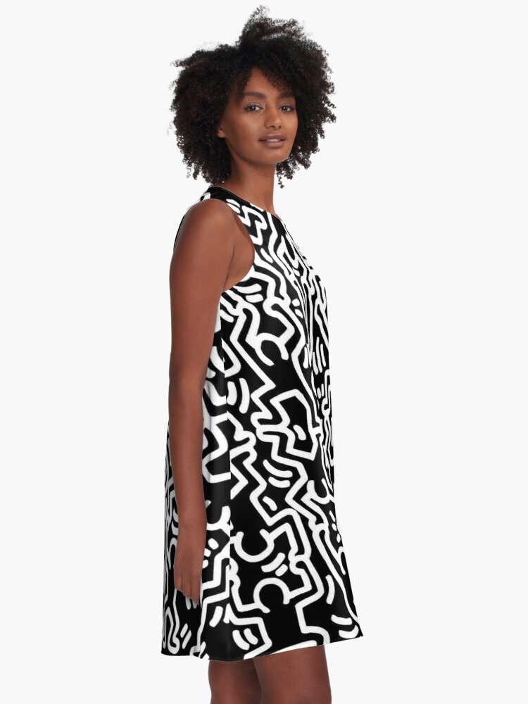 Alternate view of Keith Haring Monochrome Figures Drawing LGBTQ+ A-Line Dress