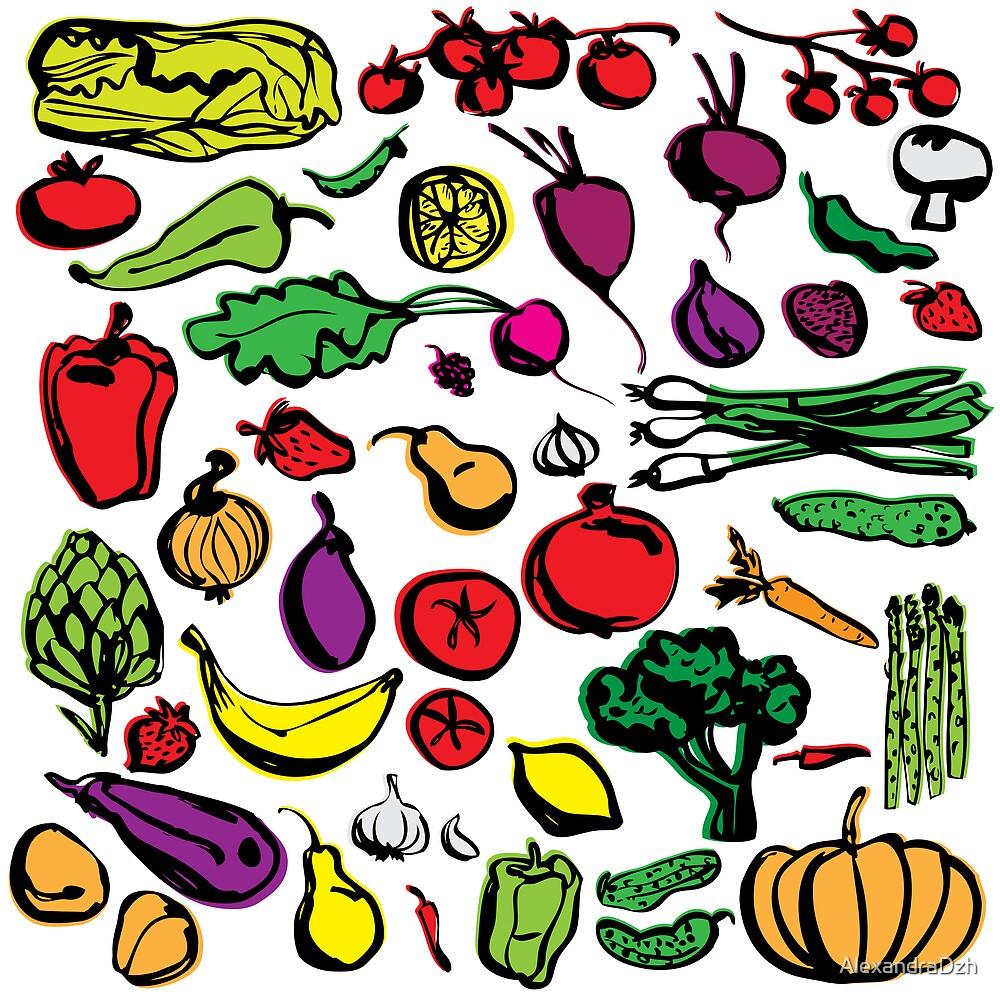 Veggies and fruits by AlexandraDzh