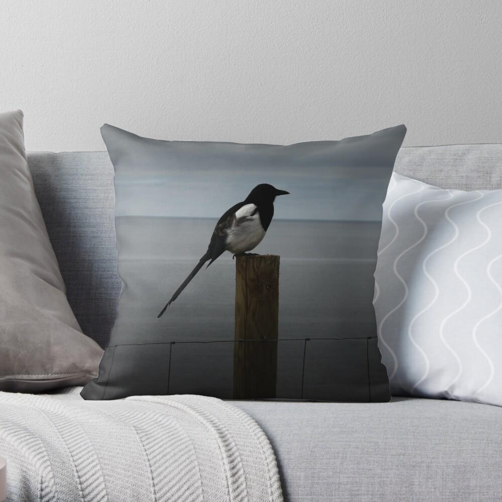 Morning Magpie Throw Pillow