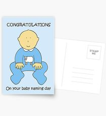 Baby naming ceremony congratulations for a boy. Postcards