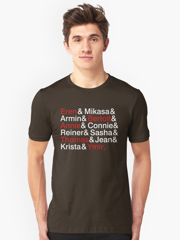 Attack On Titan Characters Unisex T-Shirt Front