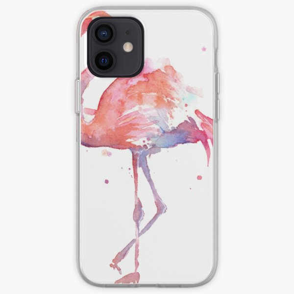 Flamingo cute bird in shoes pink iPhone Soft Case