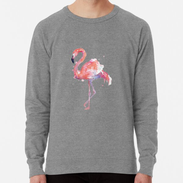 Flamingo cute bird in shoes pink Lightweight Sweatshirt