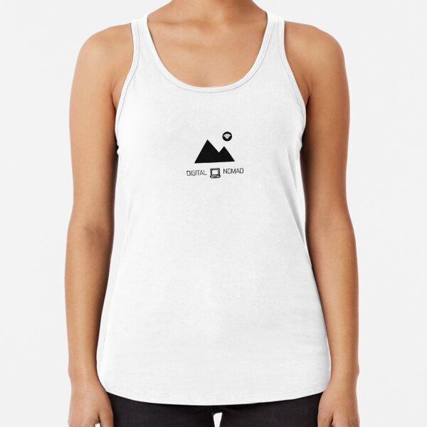 Nómada digital: montaña y diseño de portátiles Camiseta con espalda nadadora