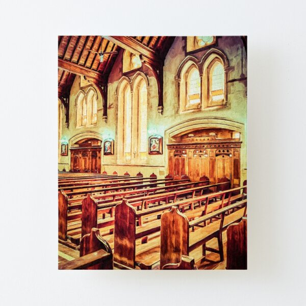 Empty Pews  (digital painting) Canvas Mounted Print
