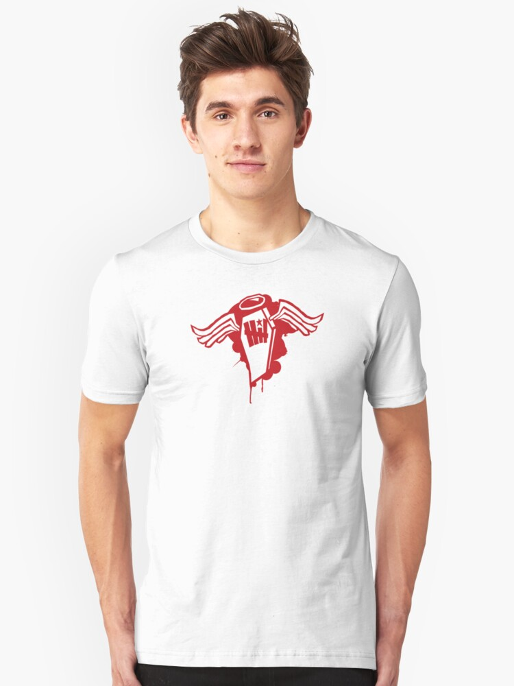the angel in a coffin design Unisex T-Shirt Front