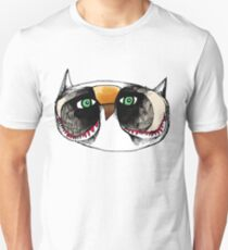 The Owl with Green Eyeballs Slim Fit T-Shirt