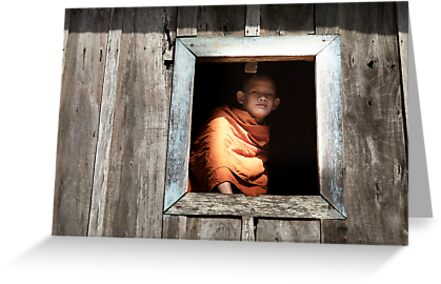 Monk in window by DebWinfield