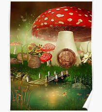 Creative cartoon mushrooms Poster
