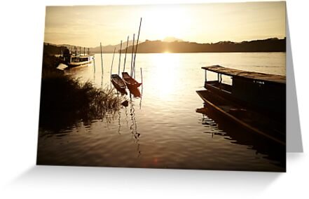 Sunset on Mekong River by DebWinfield
