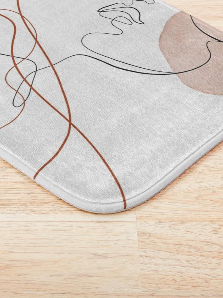Alternate view of Blush Gold Pebbles 4 - Boho Line Art Drawing Abstract Minimal Lines Design Bath Mat