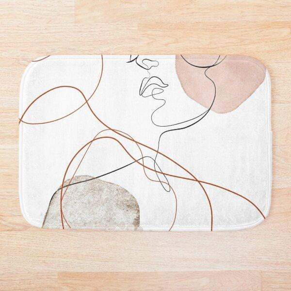 Blush Gold Pebbles 4 - Boho Line Art Drawing Abstract Minimal Lines Design Bath Mat