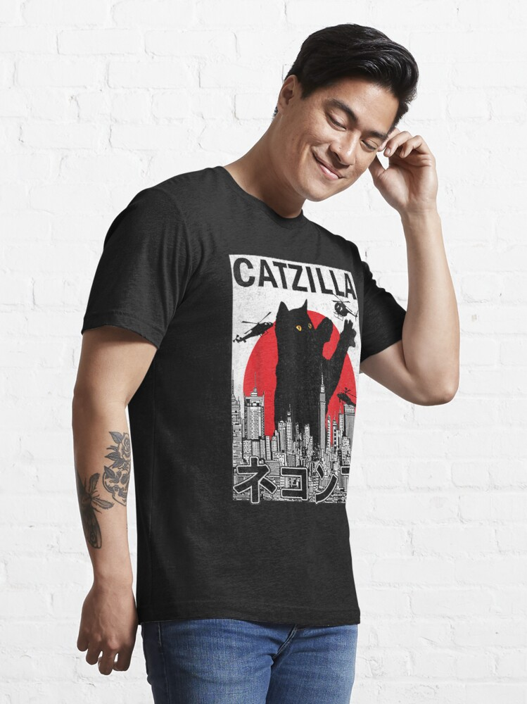 Alternate view of Catzilla Japanese Vintage Sunset Style Cat Kitten Lover Essential T-Shirt