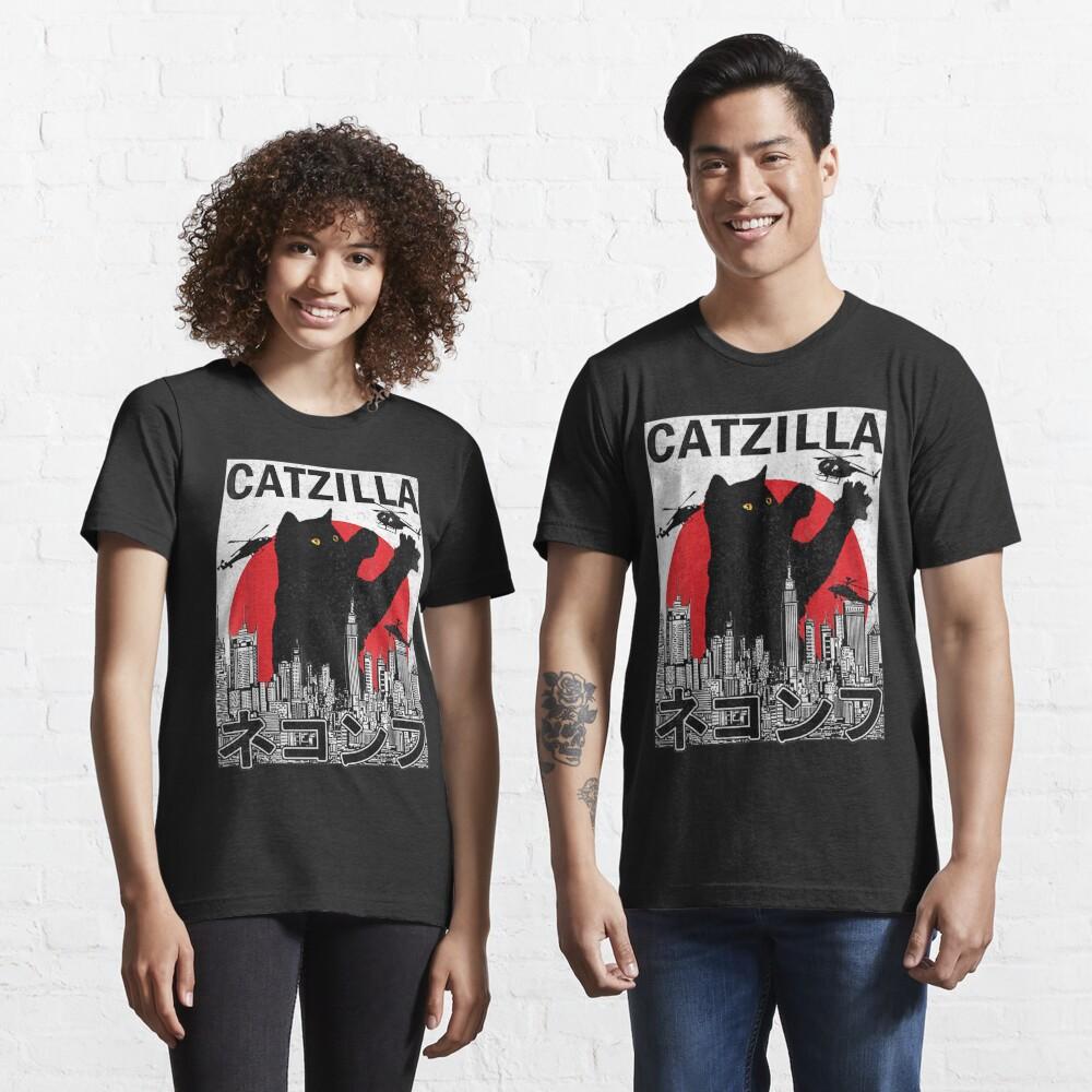 Catzilla Japanese Vintage Sunset Style Cat Kitten Lover Essential T-Shirt