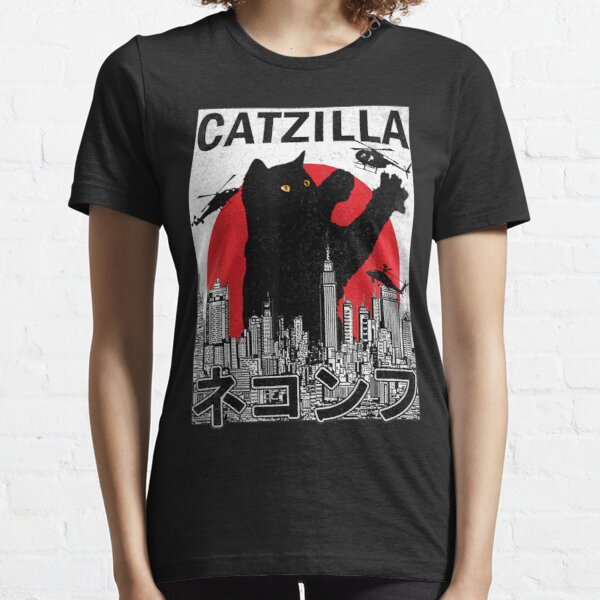 Catzilla Japanese Vintage Sunset Style Cat Kitten Lover Essential T-Shirt