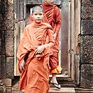 Young Monks in Doorway by DebWinfield