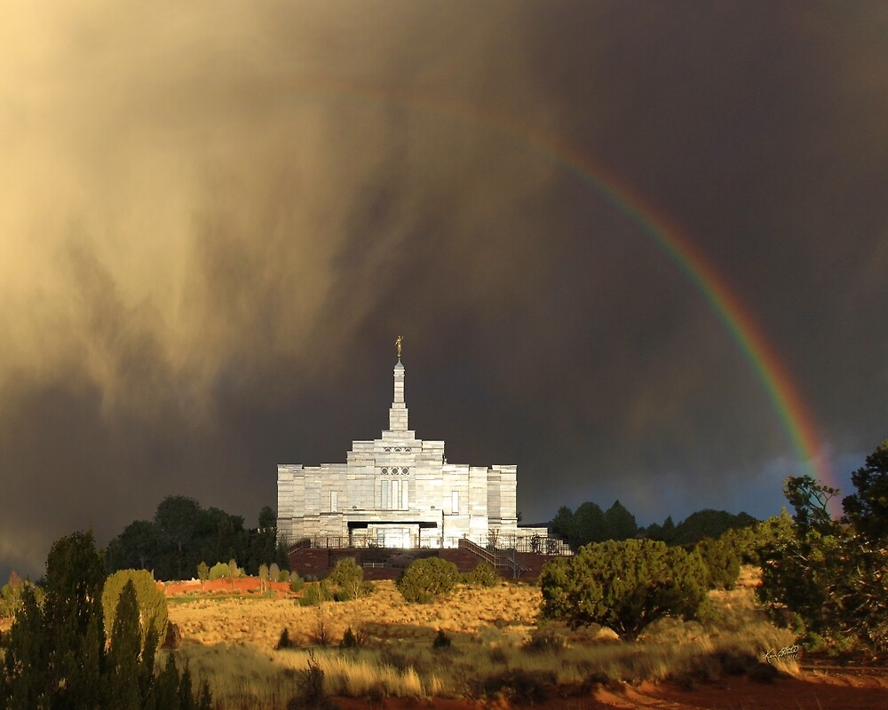 Snowflake Arizona Temple - Rainbow 24x20 by Ken Fortie