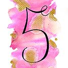 Number 5 Table Number - black on pinks with gold by BbArtworx