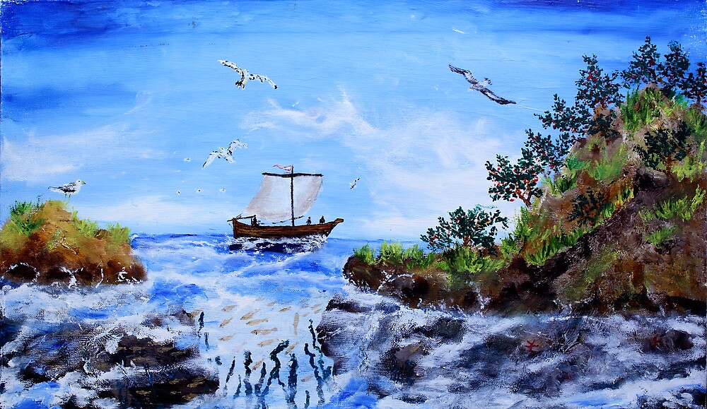 Ancient Russian fishers (oil painting for posters and prints) by konovalenko