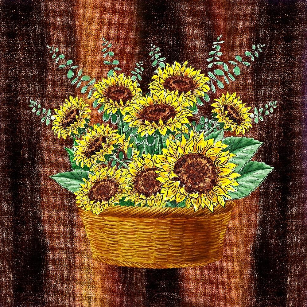 Happy Sunflowers Basket by Irina Sztukowski