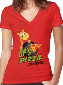 OP's Pizza Delivers (large - no pun intended) Women's Fitted V-Neck T-Shirt