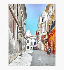 Quiet shopping day in Ciutadella Photographic Print