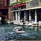 Chicago IL - Motorboat Near Dearborn Street Bridge by Susan Savad