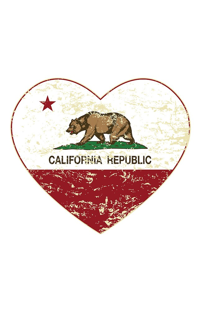 Love California Republic Heart Distressed  by NorCal
