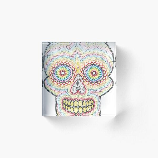 Dotty Rainbow Sugar Skull Acrylic Block