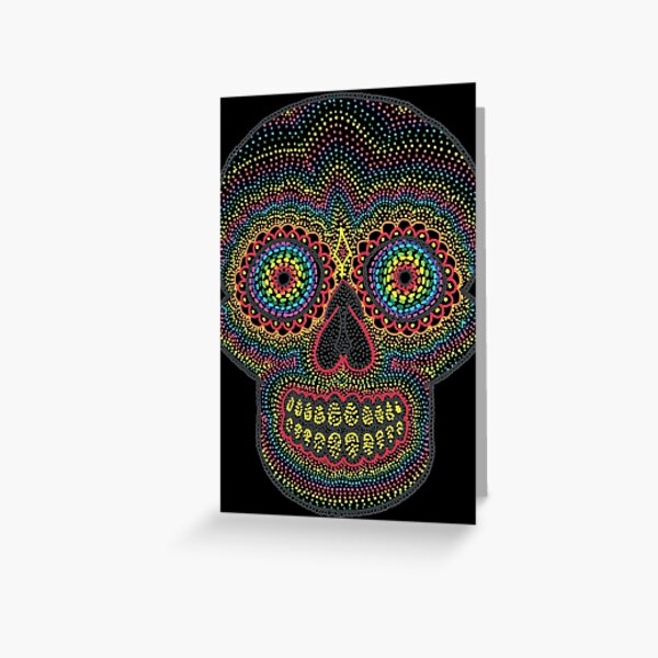 Dotty Rainbow Sugar Skull - Black Background Greeting Card