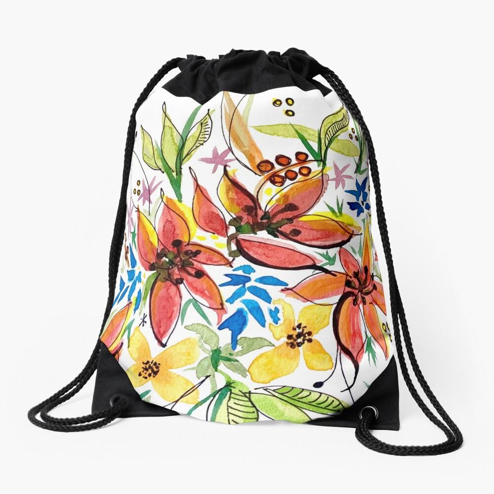 Hawaii Sings with Flowers Drawstring Bag