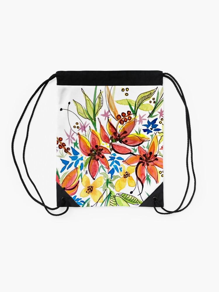 Alternate view of Hawaii Sings with Flowers Drawstring Bag