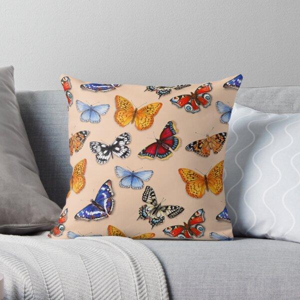 Butterflies on warm terracotta Throw Pillow