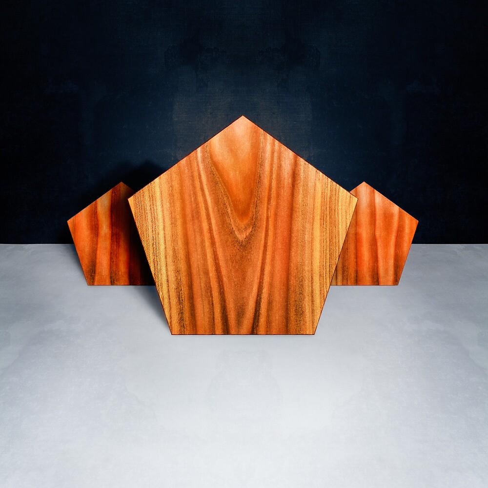 Three Orange Pentagons by YoPedro
