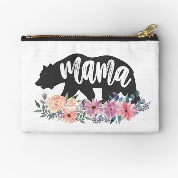 Mama Bear Floral Watercolor Flowers  Zipper Pouch