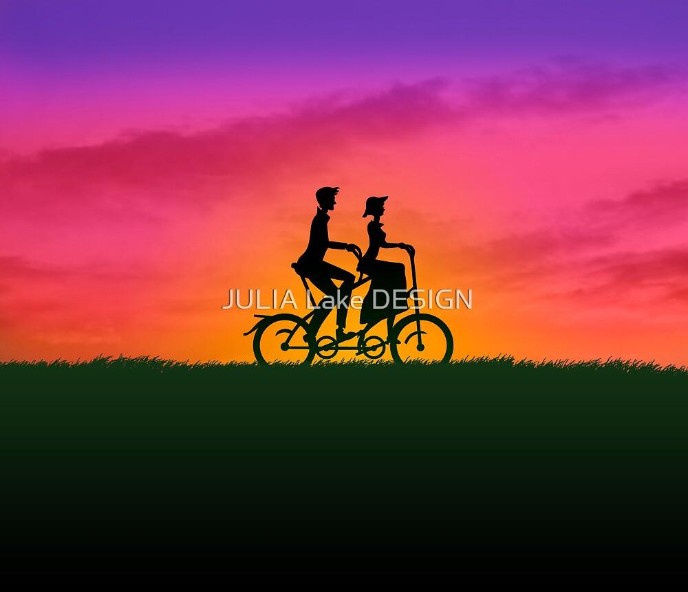 Biking couple sunset by JULIA Lake DESIGN
